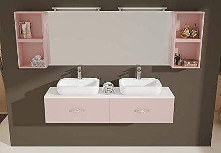 mobile arredo bagno ice cm 160x40 sospeso con doppio lavabo con 2 ... - Arredo Bagno Mobili Senza Lavabo