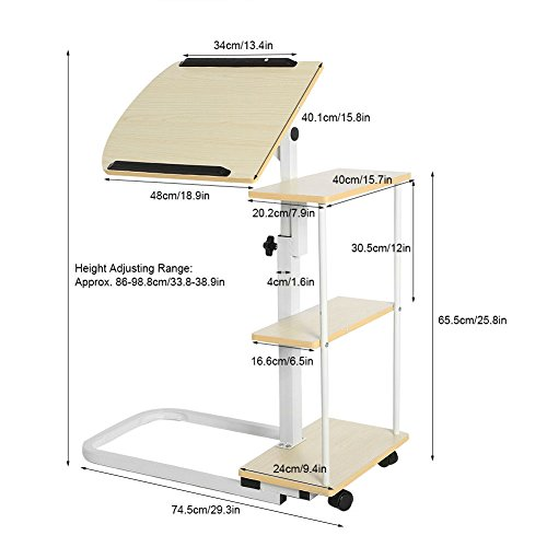 New Overbed Rolling Table With Tilting Top for Laptop Food Tray Hospital Desk Multi Function (Stock US) by Neolifu (Image #4)