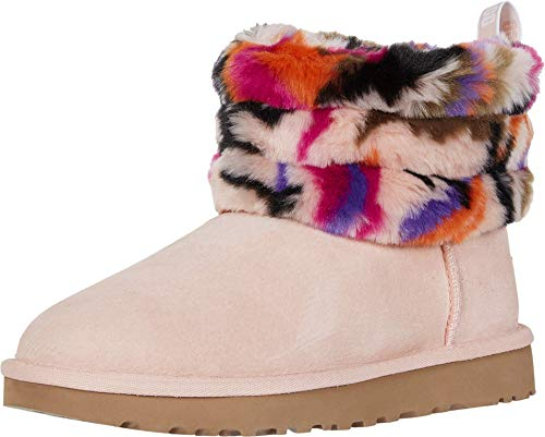 UGG Women's Fluff Mini Quilted MOTLEE Fashion Boot, Multi, 8 M US (Ugg Leopard)
