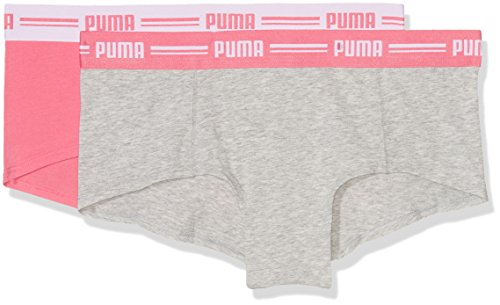 Puma 5730100010, Bóxer Para Mujer, Pack de 2 Gris (Light Grey Melange/Hot Coral)