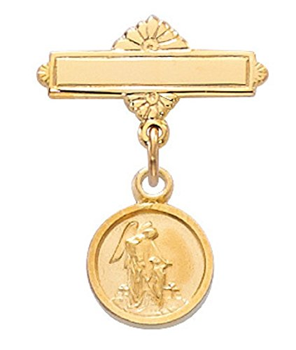 (Gold Baby Pin Pendant Guardian Angel Medal in Gift Box, Christening & Baptism Pin, First Communion Pin)