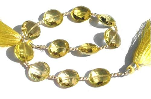 JP_BEADS Lemon Quartz Straight Drilled Faceted Coin Beads Size 14x14mm 4