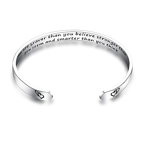 "3UMete Inspirational Bracelets for Women Girls Personalized Bracelet Mantra Cuff Bangle (You are Braver Than You Believe Stronger Than You Seem and Smarter.(Silver) W/0.24"" L/6.2"")"