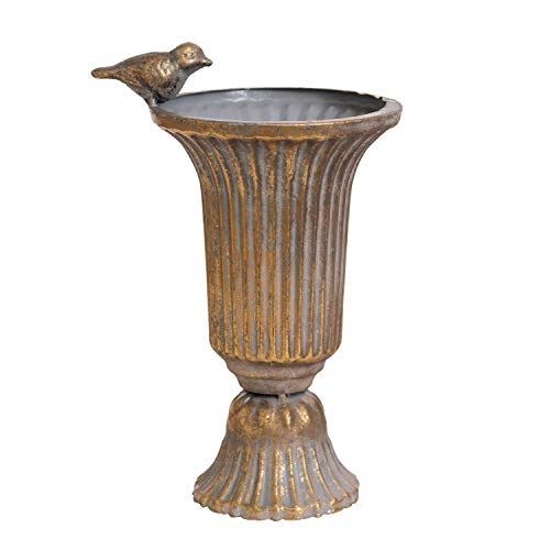Urn Home Decor - Ling's HOME Distressed Metal Globet Artificial Flower Vase with Bird Decoractive Classical Vase for Wedding Centerpieces Decoration Party Dinner Event Centerpiece Home Decor