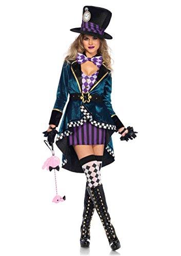 (Leg Avenue Women's Sexy Mad Hatter Costume, Multi)