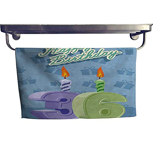 (Dry Fast Towel, Birthday Party 36 Candles on Baby Blue Backdrop Image Light Green and,Gym Swim Hotel Use W 23.5