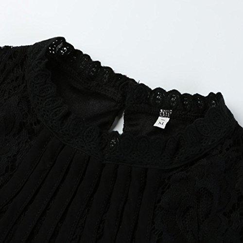 Femmes Tunique Chic Cou Tops Unie Casual O Blouse Chiffon Noir Taille S Manche Dentelle Shirts XXXL Chemisier Blanc Femmes Grande Wolfleague ~ Longue Couleur T Pull 5wpTqx