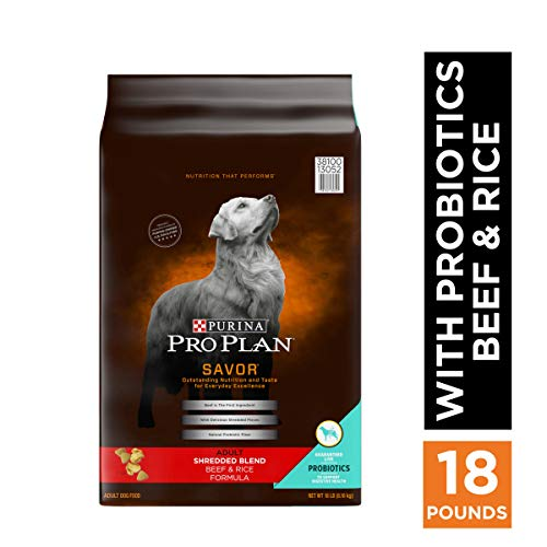 Purina Pro Plan With Probiotics Dry Dog Food, SAVOR Shredded Blend Beef & Rice Formula - 18 lb. Bag