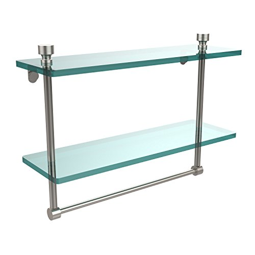 Allied Brass FT-2/16TB-SN Foxtrot Collection 16 Inch Two Tiered Glass Shelf with Integrated Towel Bar, Satin Nickel ()