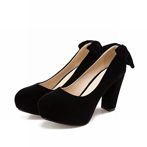 Mee Shoes Damen Blockabsatz mit Schleifen runde Pumps Schwarz