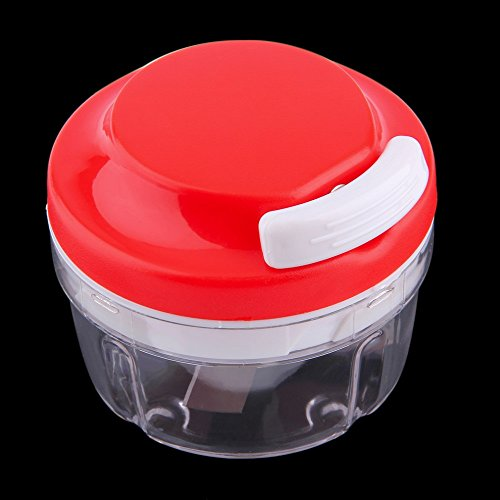 New Arrival Convenient Kitchen Food Chopper Dicer Slicer Meat Cutter Mixer Salad Crusher Gadget (Red/Transparent)