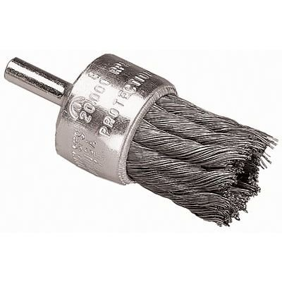 Coated Cup Knot End Brushes - 1'' knot wire end brush coated flared cup .010 ss