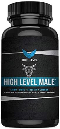 High Level Male | Ultra Premium Testosterone Booster to Increase T-Levels, Energy, Strength, Drive + Stamina | Tribulus Terrestris, KSM-66, Horny Goat Weed | 60 Capsules | Made in USA