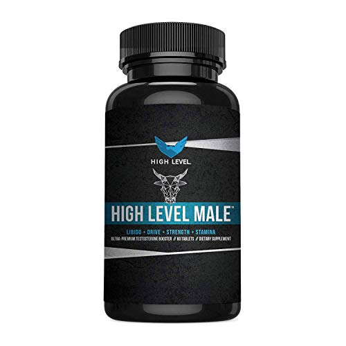 (High Level Male | Ultra Premium Testosterone Booster to Increase T-Levels, Energy, Strength, Drive + Stamina | Tribulus Terrestris, KSM-66, Horny Goat Weed | 60 Capsules | Made in USA)