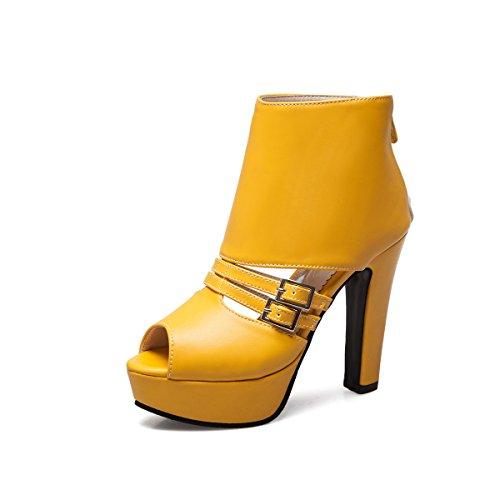 Zapatos de Mujer Artificial PU 2018 Primavera Verano Otoño Sandalias con Cremallera Trasera Después de la Cremallera Sandalias Tacones Altos Pez Crudo Boca de Pescado 40-50 Damas