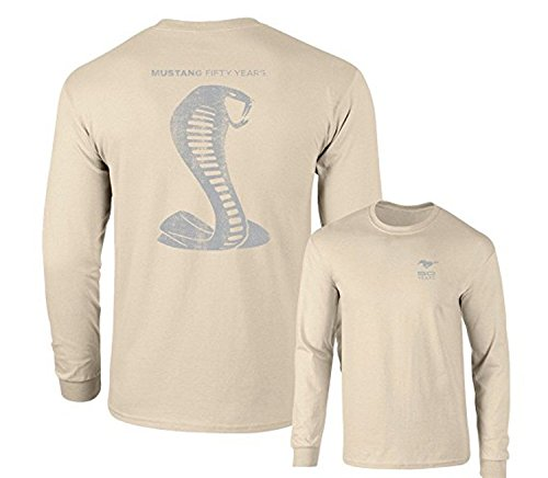 MUSTANG 50 YEARS FORD 50 SHELBY GRAY SNAKE LONG SLEEVE TEE F & B, Sand, M