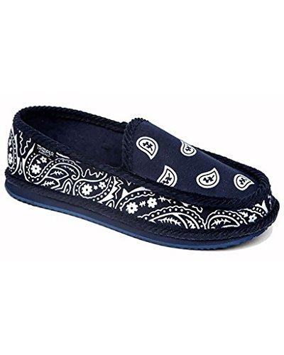 Troooper America KS-002 Bandanna Paisley Slip-On House Shoe Slippers (13, Navy/White)