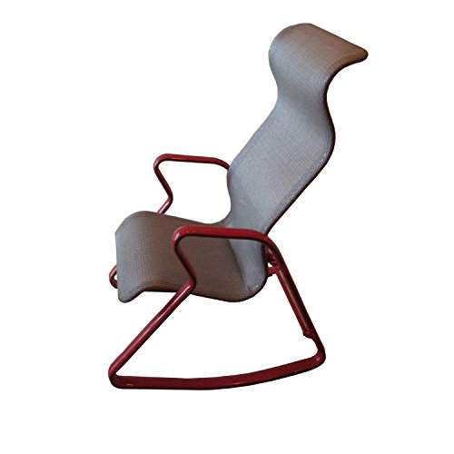 Ergonomic Modern Looking Silver Rocking Chair with Red Arms and Back Support RC-4 by Stone Spectrum