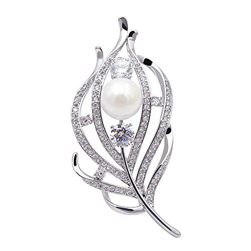 CINDY XIANG Zircon Feather Brooches Women CZ Elegant Coat Suit Accessories Copper Pin Luxury Corsage by CINDY XIANG