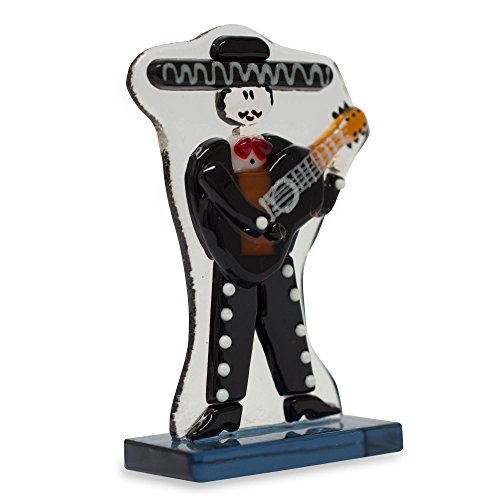 NOVICA Black Dance and Music Glass Sculpture, 3.3'' Tall, Handsome Mariachi' (Set of 6) by NOVICA (Image #1)