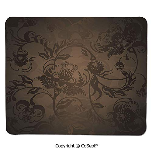 Ergonomic Mouse pad,Floral Paisley Ivy Design Leaves with Abstract Details Print,Water-Resistant,Non-Slip Base,Ideal for Gaming (7.87