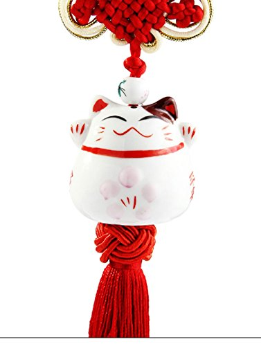 (Feng Shui Lucky Cat Ceramic Pendant Japanese Maneki Neko Charm Hanging for Wealth Fortune by Novelty House)