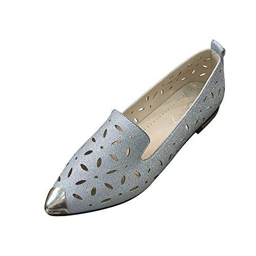 Close-dole Women's Summer Solid Color Paillette Metal Pointed Hollow Low Heel Sandals Non-Slip Casual Flat Shoes Beach Sandals