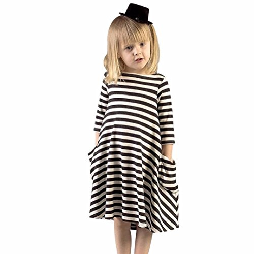 JPOQW(TM) Black White Striped Dress Casual Toddlers Girls Dress (3-4 Years, (A Girl With A Dress)