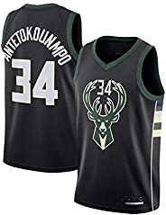 Men's Basketball Jersey - Bucks 34# Embroidered Mesh Basketball Swingman Jersey(Size:S-XXL)