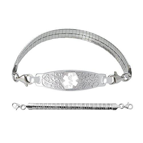 """Divoti Deep Custom Laser Engraved Elegant Olive Medical Alert Bracelet -Omega Stainless-White-7.0"""""""
