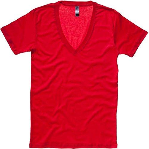 Nuevo bella Ladies Jersey Deep moda camiseta de cuello tamaños S-XL en 4colores Negro negro small