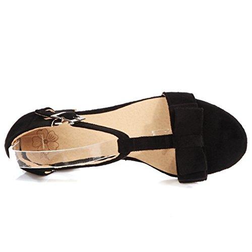 RAZAMAZA Mujer Clasico Correa En T Tacon Ancho Sandalias Chicas Colegio Tacon medio Zapatos with Bowknot Negro