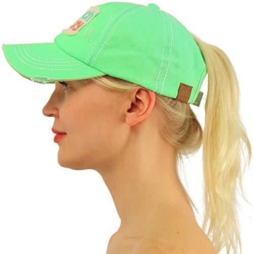 C.C Ponytail Messy Buns Trucker Ponycaps Plain Baseball Visor Cap Dad Hat Distressed Beach Crazy Mint
