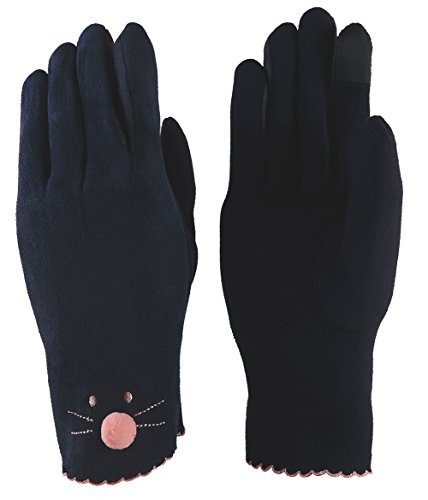 Jay+Gray Women's Touch Screen Cat Gloves Driving Riding Outdoor and Indoor Fashionable Windproof Mittens (Dark - Blue Gray Cat