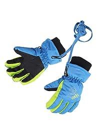 XTACER Boy's Girl's Kid's Kids Winter Warm Ski Snow Gloves (Blue, M)