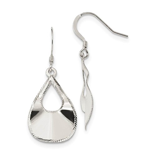 925 Sterling Silver Polished Laser-cut Teardrop Dangle Earrings ()