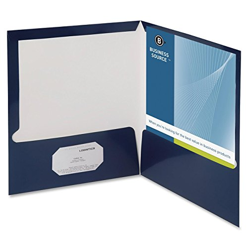 Business Source Two-Pocket Folders with Business Card Holder - Letter - 8.50