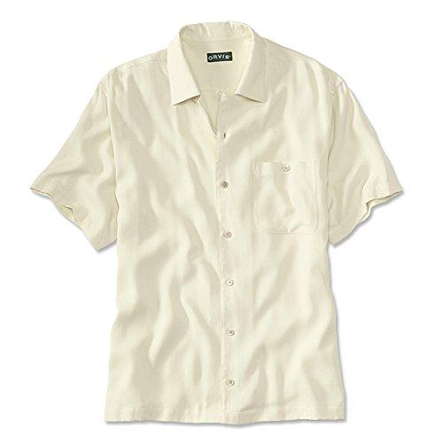 Silk Havana (Orvis Men's Silk Twill Havana Short-Sleeved Shirt, Large Ivory)