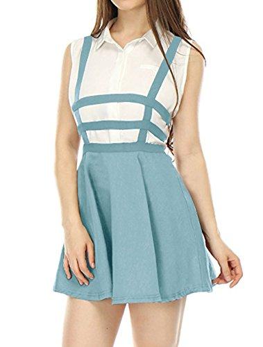 Fr?ulein Fox t Femmes Mini Jupe Personnalit Haute Taille Bandage Jupe de Fte Mode Bretelles Ajoure Jupes de Plage Bleu Ciel