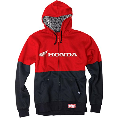 Honda Zip Hoody - Factory Effex Honda Double Zip Hoody (Large) (RED/Black)