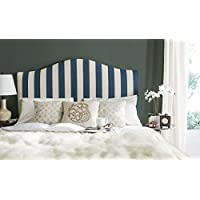 Safavieh Connie Navy and White Stripe Upholstered Camelback Headboard (Full)