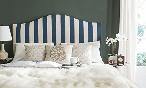 Upholstered Stripe - Safavieh Connie Navy and White Stripe Upholstered Camelback Headboard (Queen)