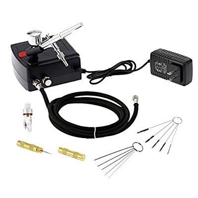 Cafego 100-250V Dual Action Airbrush Portable Airbrush Gun with Mini Compressor Kit for Art Painting Tattoo Manicure Craft Cake Spray Model Air Brush Nail Tool with Airbrush Cleaning Set