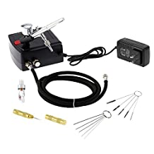 Gocheer 100-250V Dual Action Airbrush Portable Airbrush Gun with Mini Compressor Quiet Kit for Make up Art Painting Tattoo Manicure Craft Cake Spray Model Air Brush Nail Tool with Airbrush Cleaning Set