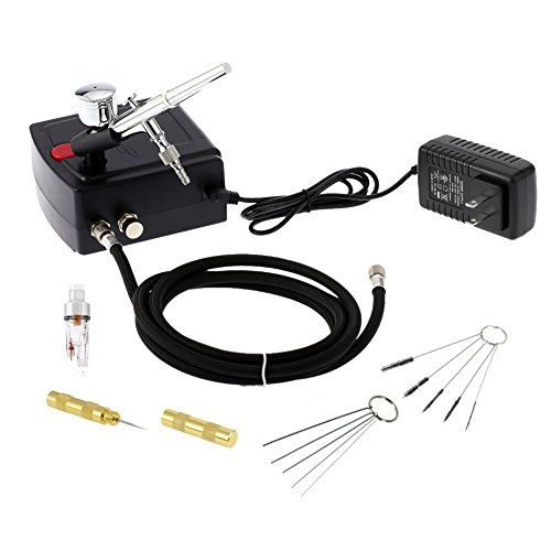 Gocheer 100-250V Dual Action Airbrush Portable Airbrush Gun with Mini Compressor Kit for Makeup Art Painting Tattoo Manicure Craft Cake Spray Model Air Brush Nail Tool with Airbrush Cleaning Set