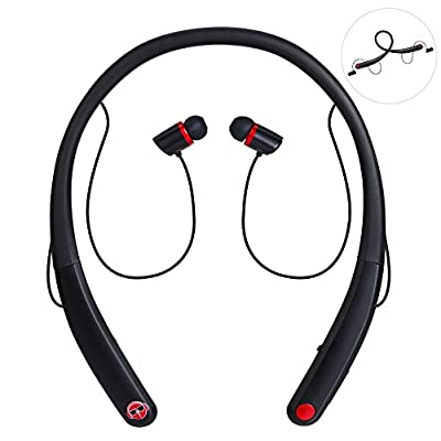 Bluetooth Headphones, Matone Wireless Neckband Bluetooth Headset with Mic Sweatproof In-ear Sports Earbuds Bass Noise Cancelling Magnetic Earphones for iPhone 7 Plus Smartphone-8Hrs Play Time (Black)