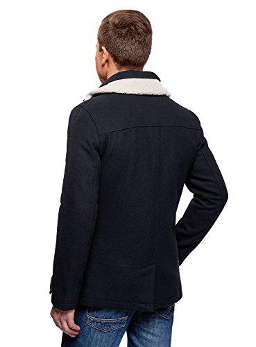 Azul Hombre de 7912b con Cruzado Cuello oodji Abrigo Pelo Sintético Ultra aYxqWnRnFz