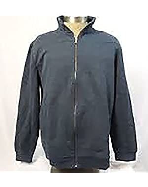 Men's L/S Mix Media Full Zip Jacket-Midnight Heather,Medium