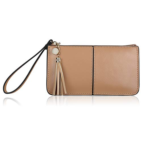(Befen Soft Leather Wristlet Phone Wristlet Wallet Clutch with Wrist Strap/Card slots/Cash pocket- Fit iPhone 6S Plus/Samsung Note 5-Camel)