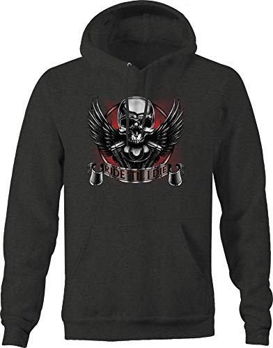 Ride Til I Die Skull Angel Wings Engine Block Chopper Biker Trip Sweatshirt - 3XL Charcoal